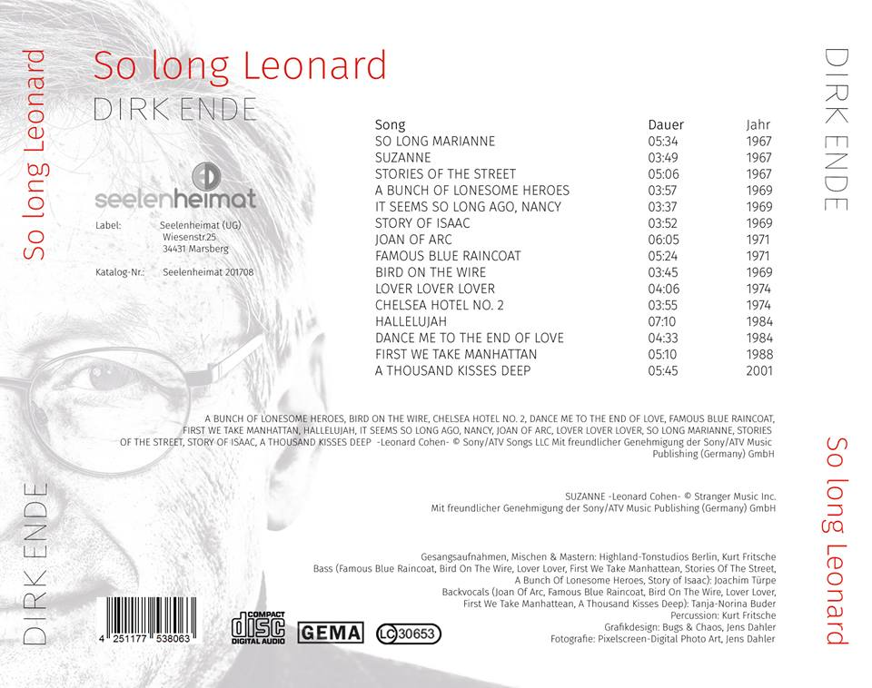 So Long Leonard Songliste